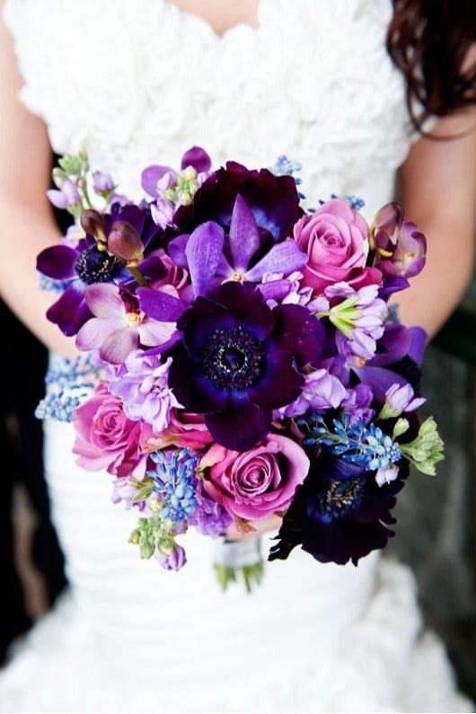 фиолетовый букет невесты фото