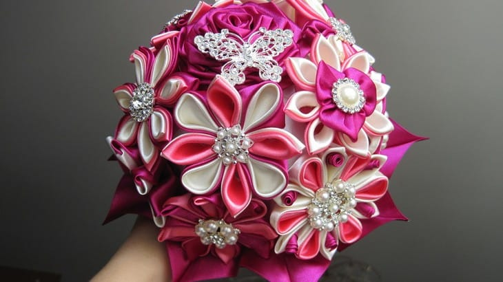 Свадебный букет канзаши: фото и идеи оформления