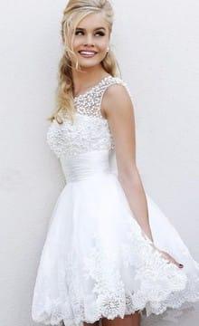 Короткие кружевные свадебные платья: фото и идеи нарядов
