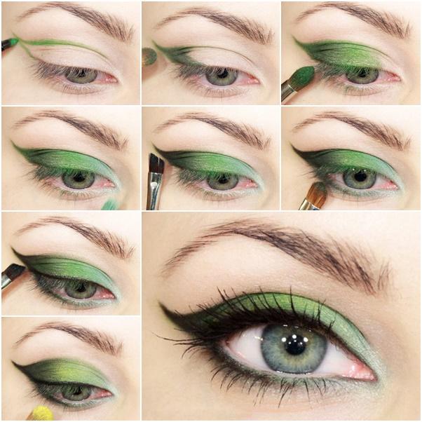 Макияж только зелеными тенями