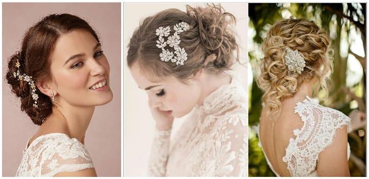 Свадебные украшения для волос: фото аксессуаров в прически 92