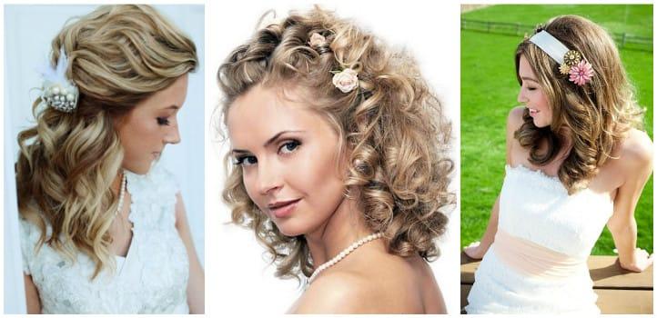 Прически на средние волосы с локонами завитыми волосами