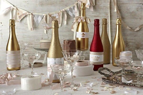 Идеи оформления свадебного шампанского